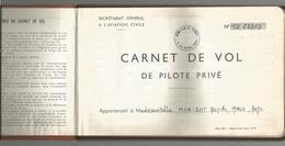 Carnet De Vol De Pilote Privé, Aviation , Avion ,1965 , Saumur , Chatellerault-Targe , Le Mans-Arnage ,  Frais Fr 3.95 E - Vieux Papiers