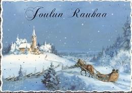 Family Riding A Horse On A Sled To Christmas Church - Winter Landscape Raimo Partanen - Christmas