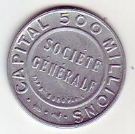 (Medailles). Timbre-monnaie. Societe Generale 10 C Orange Fond Vert Fonce - Noodgeld