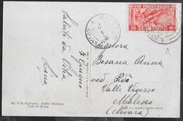 STORIA POSTALE REGNO - ANNULLO LIDO DI ROMA SU FIERA MILANO CENT 20 ISOLATO SU CARTOLINA FORMATO PICCOLO 08.06.1936 - 1900-44 Vittorio Emanuele III