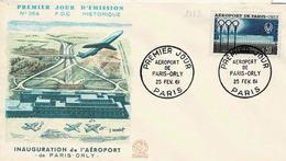 TP N° 1283 Seul Sur Enveloppe 1er Jour De L'inauguration De Orly - 1961-....