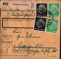 ! 1943 Paketkarte Deutsches Reich, Wiehe / Unstrut Nach Leipzig, Zusammendrucke - Se-Tenant