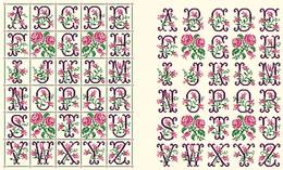 Diagramme Point De Croix - Abécédaire Des Roses (288) - Point De Croix