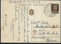 STORIA POSTALE REGNO - ANNULLO RIOLO DEI BAGNI/RAVENNA 19.09.1942 SU INTERO POSTALE - 1900-44 Vittorio Emanuele III