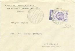 ORAZIO Cent.50,(s401),ISOLATO TARIFFA LETTERA,1937,TIMBRO POSTE VERONA - LEGNAGO - 1900-44 Vittorio Emanuele III