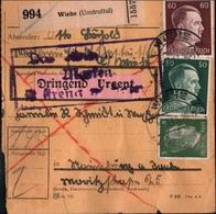 ! 1943 Paketkarte Deutsches Reich, Wiehe / Unstrut Nach Naumburg, Zusammendrucke - Allemagne