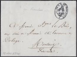"""FRANCE LETTRE DE BOULOGNE SUR MER 12/01/1845 """"CACHET ILLUST VIERGE"""" VERS MORLAIX (DD) DC-6958 - Poststempel (Briefe)"""