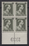 Belgique: 1938 :  COB N° 480 En Bloc De 4 Avec BDF **, MNH. TTB. Cote COB 2020 : 3 € - Nuovi