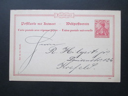 Ganzsache Germania 1900 Doppelkarte P 48 Beschrieben, Aber Ungelaufen / Krefeld - Briefe U. Dokumente