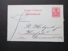Ganzsache Kartenbrief Germania Reichspost 1900 Beschrieben, Aber Ungelaufen / Krefeld - Briefe U. Dokumente