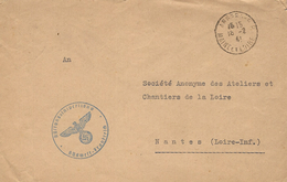 """1941- Cover From  ANGERS ( Maine Et Loire ) To Nantes """" Rüftungsinideptions * Südweft-Frankreich - Allemagne"""