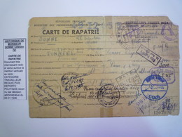 GP 2020 - 2340  DONNE Célestin  :  Carte De Rapatrié  (Travailleur Requis Puis Déporté Politique)  1946  RARE   XXX - 1939-45