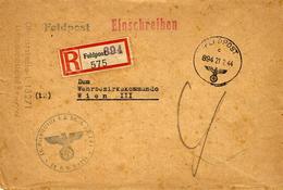 WWII - 1944 -Reg.  FELPOST 894 Cover From Brussels - Dienstelle . L 13271 / Luftgaupostamt To Wien - Allemagne