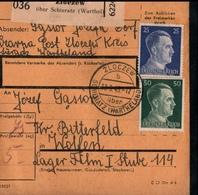 ! 1943 Paketkarte Deutsches Reich, Zloczew über Schieratz Wartheland Nach Wolfen, Lager, Zusammendruck - Germania