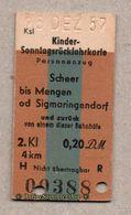 BRD - Entwertete Pappfahrkarte Edmond   -->   Kindersonntagsrück / Scheer - Mengen - 2. Kl.- 0,20 DM - Bahn
