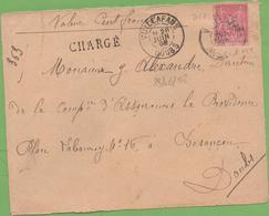 50c Sage Type II Rose Sur Devant De Lettre  Chargé 100 Fr De Vuillafans à Besançon 28/06/1898 - Marcophilie (Lettres)