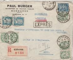 Affranchissement Composé Blanc Pasteur Semeuse Lignée Lettre Recommandée Expres Entête Burger MORHANGE Moselle 1933 - France