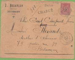 50c Sage Type II Rose Sur Devant De Lettre  Chargé 150 Fr De Rougemont à Besançon 13/01/1897 - Marcophilie (Lettres)