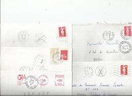 Lot De 5 Plis Avec Cachets Erronés Et Corrigés - Postmark Collection (Covers)