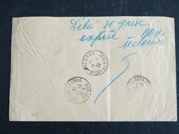 LELAUX AURIOL ROQUEVAIRE - BOUCHE DU RHONE - CACHET ROND MANUEL AU DOS - CACHET RETOUR ENVOYEUR POSTE RESTANTE FORAIN - Postmark Collection (Covers)