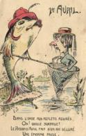 D 4506 - Fantaisie   1er Avril  Femme Dans L'épuisette       Et  Poisson  Qui Pêche - 1er Avril - Poisson D'avril