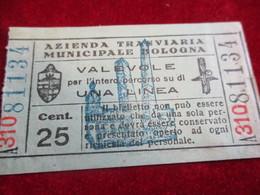 Ticket De Tramway/ Azienda Tranviara Municipale Bologna/ Valevole/BOLOGNE/ Italie /vers 1900-1930    TCK26 - Tram