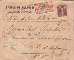 Yvert 145 Merson + Semeuse Lettre Valeur Déclarée Entête Crédit Commercial EPINAL Vosges 31/12/1930 à Roville  Bayon 54 - France