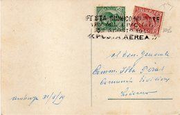 """ITALIE : CP . PA . """" LIVOURNE """" . AVEC GRIFFE ET SPECTACLE MILITAIRE . 1919 . - Poste Aérienne"""