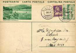 Entier Postal 10 HELVETIA  + Timbre 10 MONTANA VERMALA  + Veau Cachet  BILLEN (FRIBOURG)     RV - Entiers Postaux