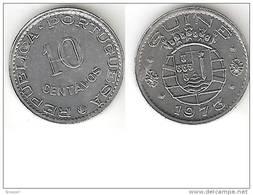 Guinea Bissau  Portuguese Guinea 10 Centavos 1973 Km 12 Unc !!!  Rare Coin !!!!! - Guinea Bissau