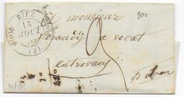 BASSES ALPES - 1846 - LETTRE De RIEZ Avec T11 => ENTREVAUX - IND 10 - Postmark Collection (Covers)
