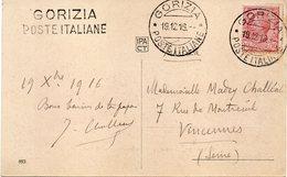"ITALIE : CP . OBL ET GRIFFE LINÉAIRE . "" GORIZIA POSTE ITALIENNE "" . 1916 . - 1900-44 Vittorio Emanuele III"