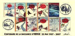 FRANCE 2007 N°00c - 10 Albums Fictifs Tintin Au Tibet + 2 Cachets 1er Jour FDC TINTIN KUIFJE HERGE GUEBWILLER - Hergé