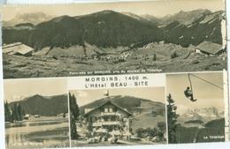 Morgins 1961; Panorama Sur Morgins, Pris Du Sommet Du Télésiège, Multi Vues - Voyagé. (Hôtel Beau-Site) - VS Valais
