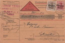 3 + 10 Ct Op Nachname Karte Luttich Naar Stavelot 1917 - WW I