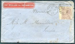 "1861 GB London 6d ""Per Overland Via Southampton"" Cover - Simla India. Red Simla Arrival Postmark - Storia Postale"