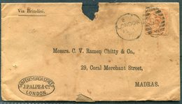 1877 London 8d Rate Cover - Madras Via Brindisi. Sea Post Office + Madras Overland Mail.Palpe & Co,149 Fenchurch Street. - 1840-1901 (Victoria)