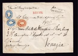 10 Kr. Und 2x 15 Kr. Auf Einschreibbrief Ab TAJO Nach Venezia - 1850-1918 Empire