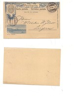 P662 SVIZZERA HELVETIA POSTKARTE INTERO POSTALE 1894 VIAGGIATO - Entiers Postaux