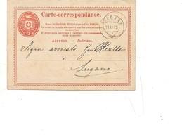 P664 SVIZZERA HELVETIA POSTKARTE INTERO POSTALE Balerna 1873 VIAGGIATO - Interi Postali