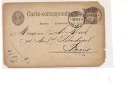 P670 SVIZZERA HELVETIA POSTKARTE INTERO POSTALE 5+5 Geneve 1876 Paris VIAGGIATO - Interi Postali