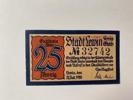 Allemagne Notgeld Lewin 25 Pfennig - [ 3] 1918-1933 : République De Weimar
