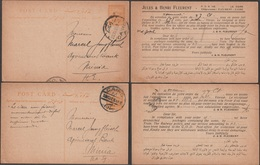 Égypte 1922 Et 1925. 2 Entiers, Cartes Pour L'intérieur (Al-Minya). Jules Et Henri Fleurent, Vins Et Champagnes - Égypte