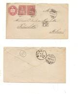 P672 A SVIZZERA HELVETIA POSTKARTE INTERO POSTALE Busta 10+10+10 Fr Lausanne 1873  Milano VIAGGIATO - Interi Postali