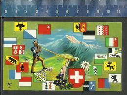 SCHWEIZ LA SUISSE SWITZERLAND ALPEN HORN CORNE DES ALPES COAT OF ARMS HERALDRY - Boites D'allumettes - Etiquettes