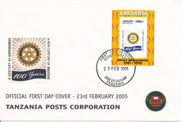 Tanzania FDC 23-2-2005 Minisheet Rotary International 100th Anniversary With Cachet - Tanzania (1964-...)