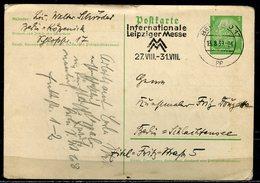 """German Empires 1939 Ganzsche Hindenburg, Mi.Nr.P225 Mit Messe MWST"""" Berlin 017-Intern. Leipziger Messe """"1GS  Used - Covers"""