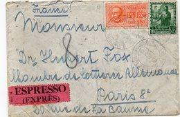 """ITALIE : PAR EXPRES . AFFRANCHISSEMENT à 3,75 L . DE """" BOLZANO """" . POUR LA FRANCE . DIVERS TRANSITS . 1939 . - Posta Espresso"""