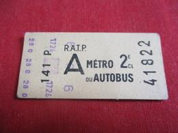 RATP / Métro Ou Autobus/ A /  2 éme Classe/ 141 P / Vers 1950-1970  TCK33 - Europe