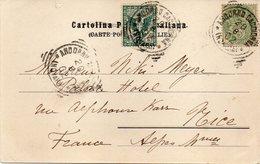 """FRANCE : ITALIE . AFFRANCHISSEMENT MIXTE . 5 Cts . TYPE BLANC . ET 5 Cts ITALIE . """" D'ANDORNO """"  . POUR NICE . 1902 . - Storia Postale"""